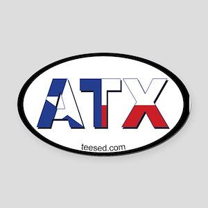 Austin ATX Texas Flag Oval Car Magnet