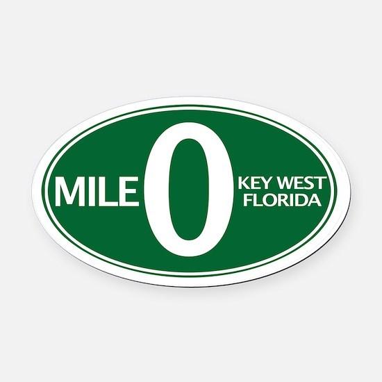 Mile 0 - Mile Zero - Key West, FL - Oval Car Magne