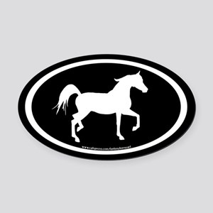 Arabian Horse Oval (wh/blk) Oval Car Magnet