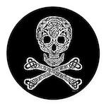 Celtic Skull and Crossbones Round Car Magnet