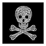 Celtic Skull and Crossbones Square Car Magnet 3
