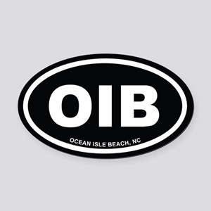 OIB Ocean Isle Beach, NC Euro Black Oval Car Magne