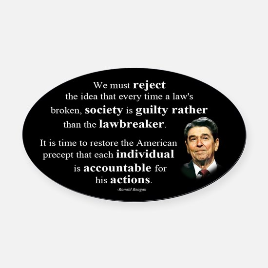 Reagan Quote - Individual Accountable Oval Car Mag