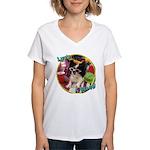 Lifes a beach papillon Women's V-Neck T-Shirt