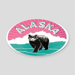 Travel Alaska Retro Oval Car Magnet