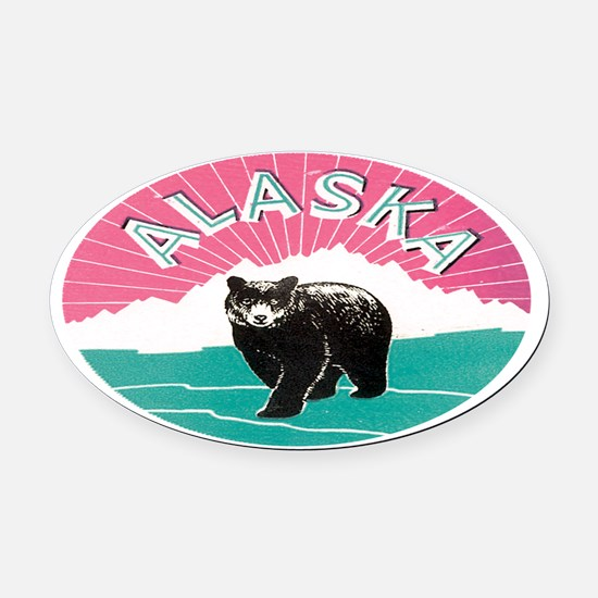 Travel Alaska Retro Oval Car Magnet