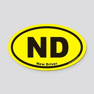 New Driver ND Euro Oval Car Magnet in Yellow