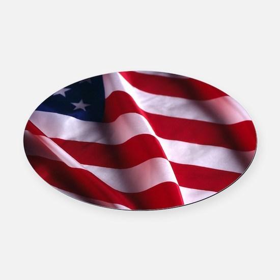 American Flag Oval Car Magnet
