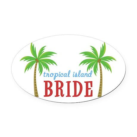 Bride Tropical Island Oval Car Magnet