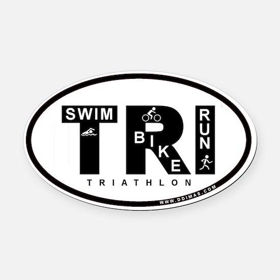 Thiathlon Swim Bike Run Oval Car Magnet