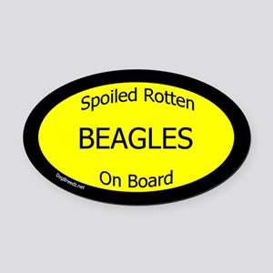 Spoiled Beagles On Board Oval Car Magnet