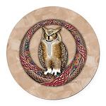 Celtic Owl Round Car Magnet