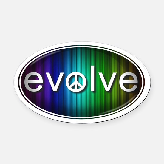 Evolve with PEACE! - Oval Car Magnet