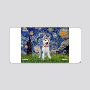Starry-Siberian pup Aluminum License Plate