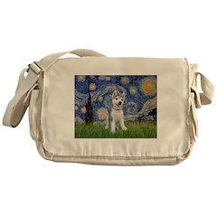 Starry-Siberian pup Messenger Bag