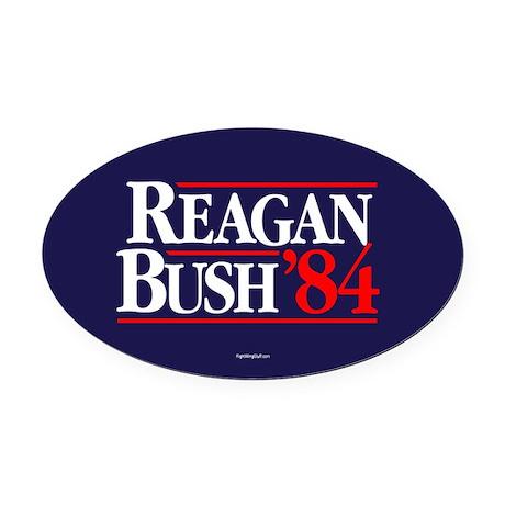Reagan Bush '84 Campaign Oval Car Magnet