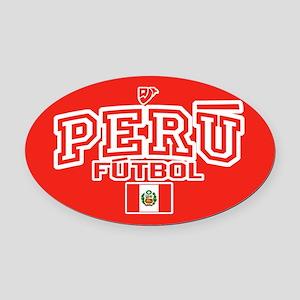 Peru Futbol/Soccer Oval Car Magnet