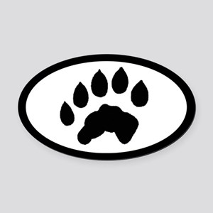 Otter Track Pawprint Euro Oval Car Magnet