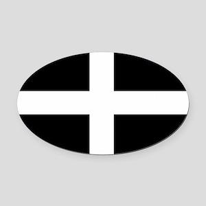 Saint Piran's Cornwall Flag Oval Car Magnet