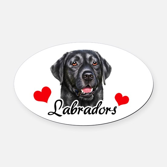 Love Labradors - Black Oval Car Magnet