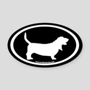 Basset Hound Oval (white on black) Oval Car Magnet