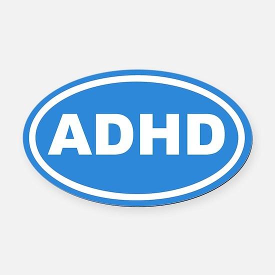 ADHD Blue Euro Oval Car Magnet