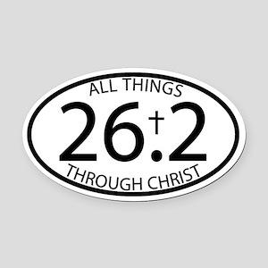 26.2 Through Christ Oval Car Magnet