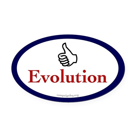 Thumbs Up for Evolution Oval Car Magnet