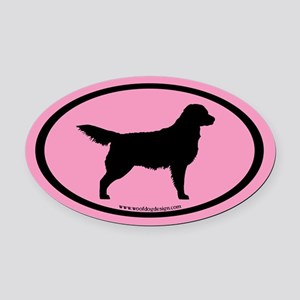 Pink Golden Retriever Oval #4 Oval Car Magnet