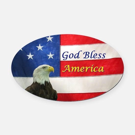God Bless America Oval Car Magnet