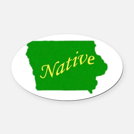 Iowa native Oval Car Magnet