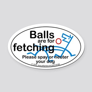 Fetching balls Oval Car Magnet