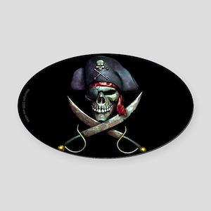 pirate skull -blackOval Car Magnet