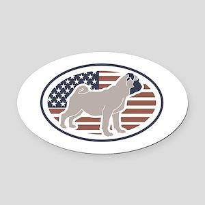 Fawn American Pug Oval Car Magnet