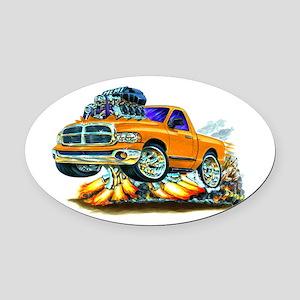 Dodge Ram Orange Truck Oval Car Magnet