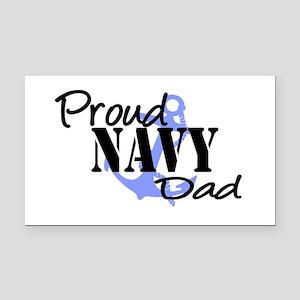 Proud Navy Dad - Blue Anchor Rectangle Car Magnet