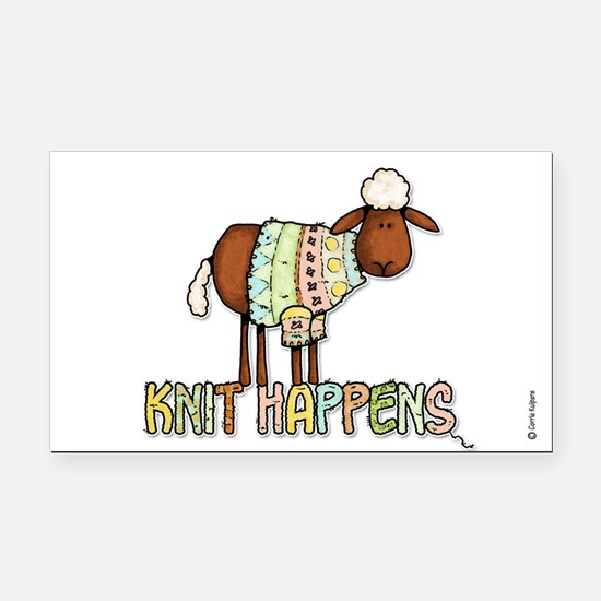 knit happens Rectangle Car Magnet