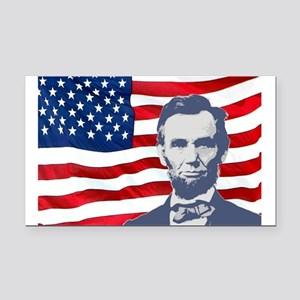 Lincoln With Flag Rectangle Car Magnet