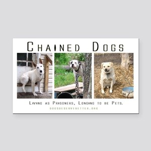 3 Chained Dogs: Longing to be Rectangle Car Magnet