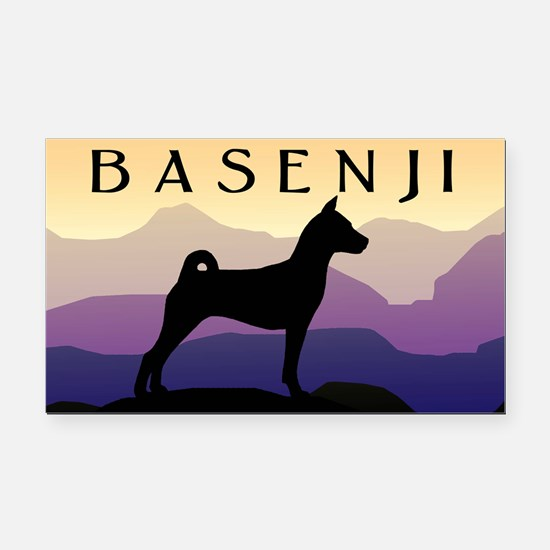 Basenji Purple Mountains Rectangle Car Magnet