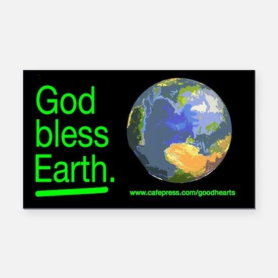 God Bless Earth Rectangle Car Magnet