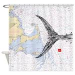 Mass bay and islands with tuna tail Shower Curtain
