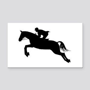 Horse Jumping Silhouette Rectangle Car Magnet