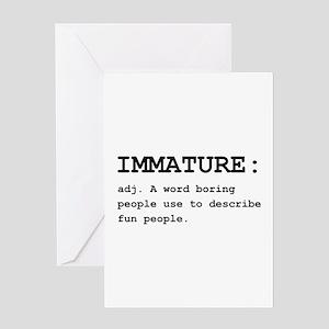 Immature Definition Black Greeting Card