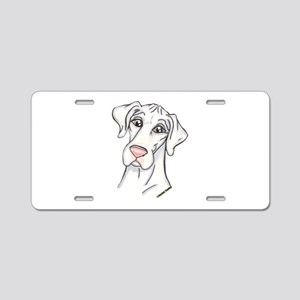N Pinknose Wht Aluminum License Plate
