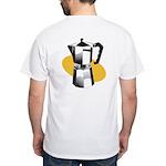 Pop Art - 'Coffee Pot' Back/Front White T-Shirt