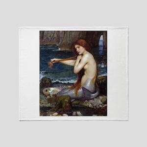 John William Waterhouse Mermaid Throw Blanket