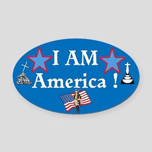 I AM America Oval Car Magnet