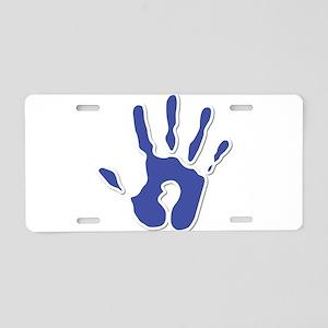 Hand Print Blue Large Aluminum License Plate