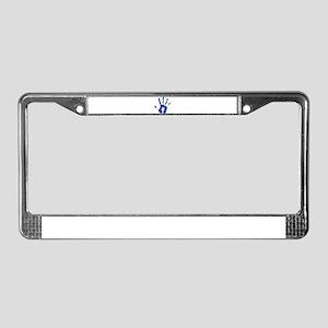 Hand Print Blue Large License Plate Frame